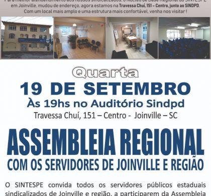 Joinville: Núcleo em novo endereço e chamado para Assembleia Regional