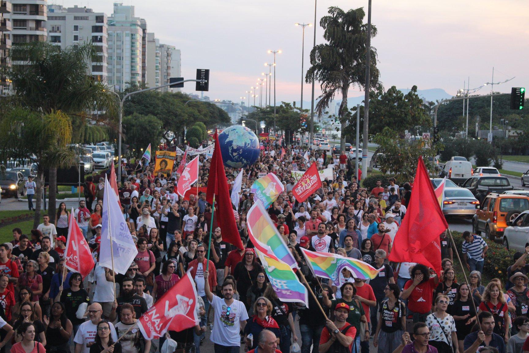 Greve Geral de 14 de junho em Florianópolis/SC. Crédito da foto: Sintrasem