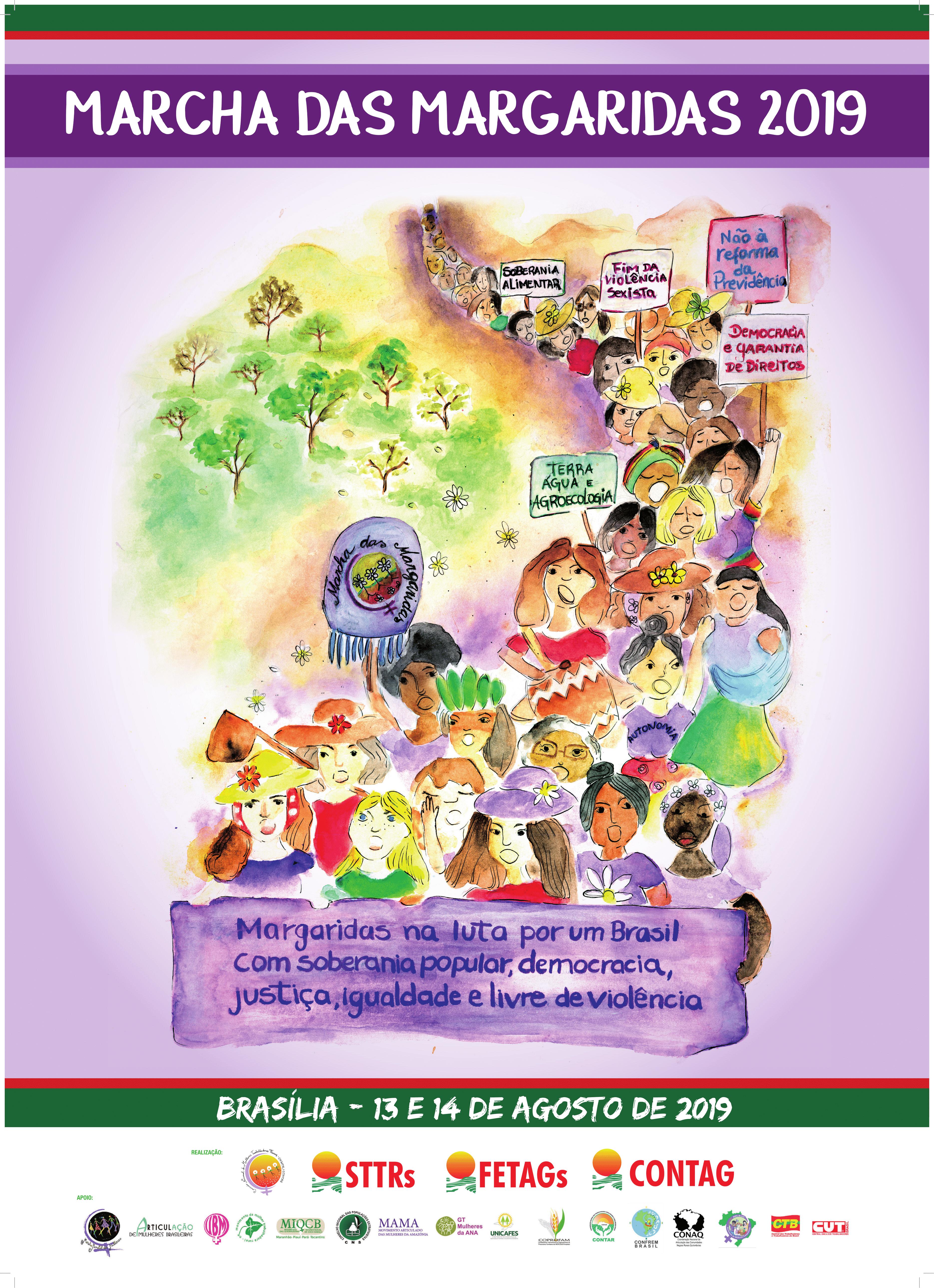A Marcha das Margaridas 2019 espera reunir cerca de 100 mil pessoas na Esplanada dos Ministérios.