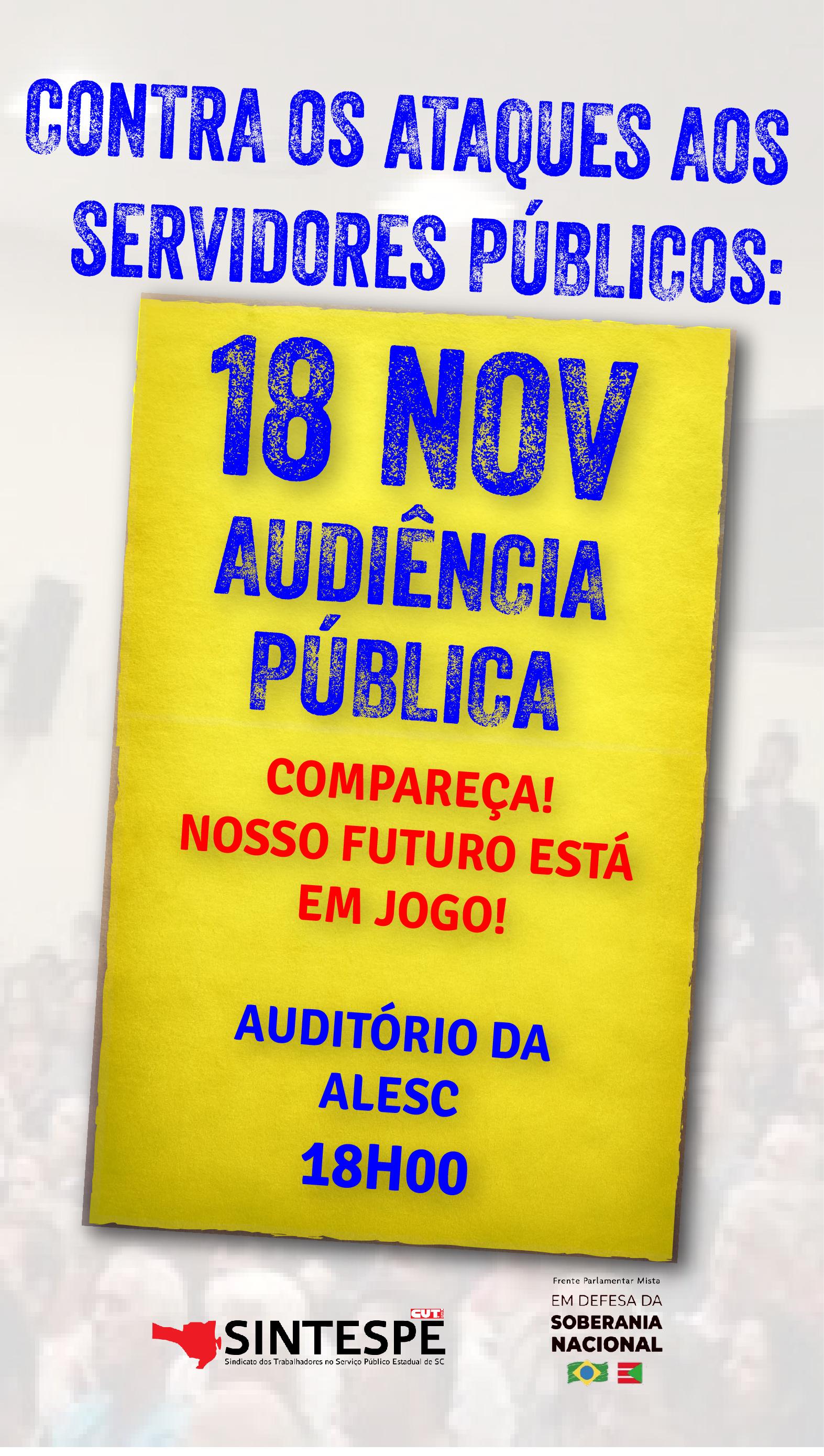SINTESPE participa de Audiência Pública HOJE na ALESC