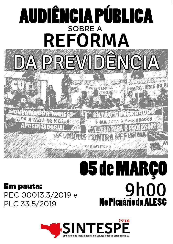 Dia 5 de março: Audiência Pública sobre a reforma da Previdência
