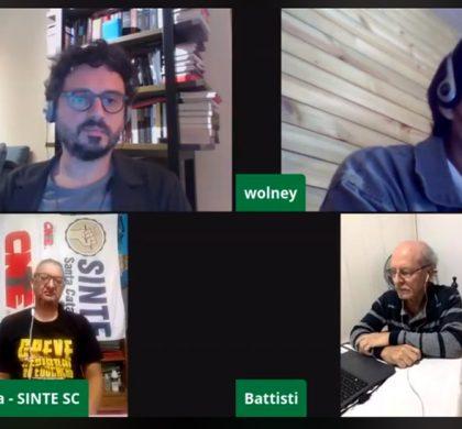 Sintespe promoveu, em parceria com o Sinjusc e o Sinte/SC, uma live para discutir o congelamento de salários dos servidores públicos