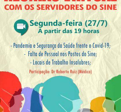 REUNIÃO VIRTUAL COM OS SERVIDORES DO SINE