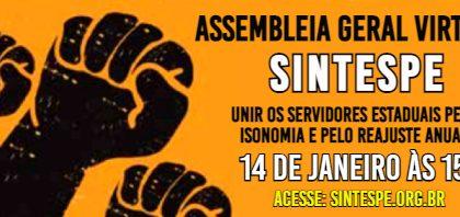 14 de janeiro: Assembleia Geral Virtual do SINTESPE