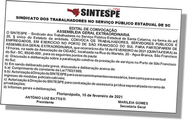 EDITAL: Convoca os servidores do Porto de São Francisco do Sul para participarem de Assembleia Geral