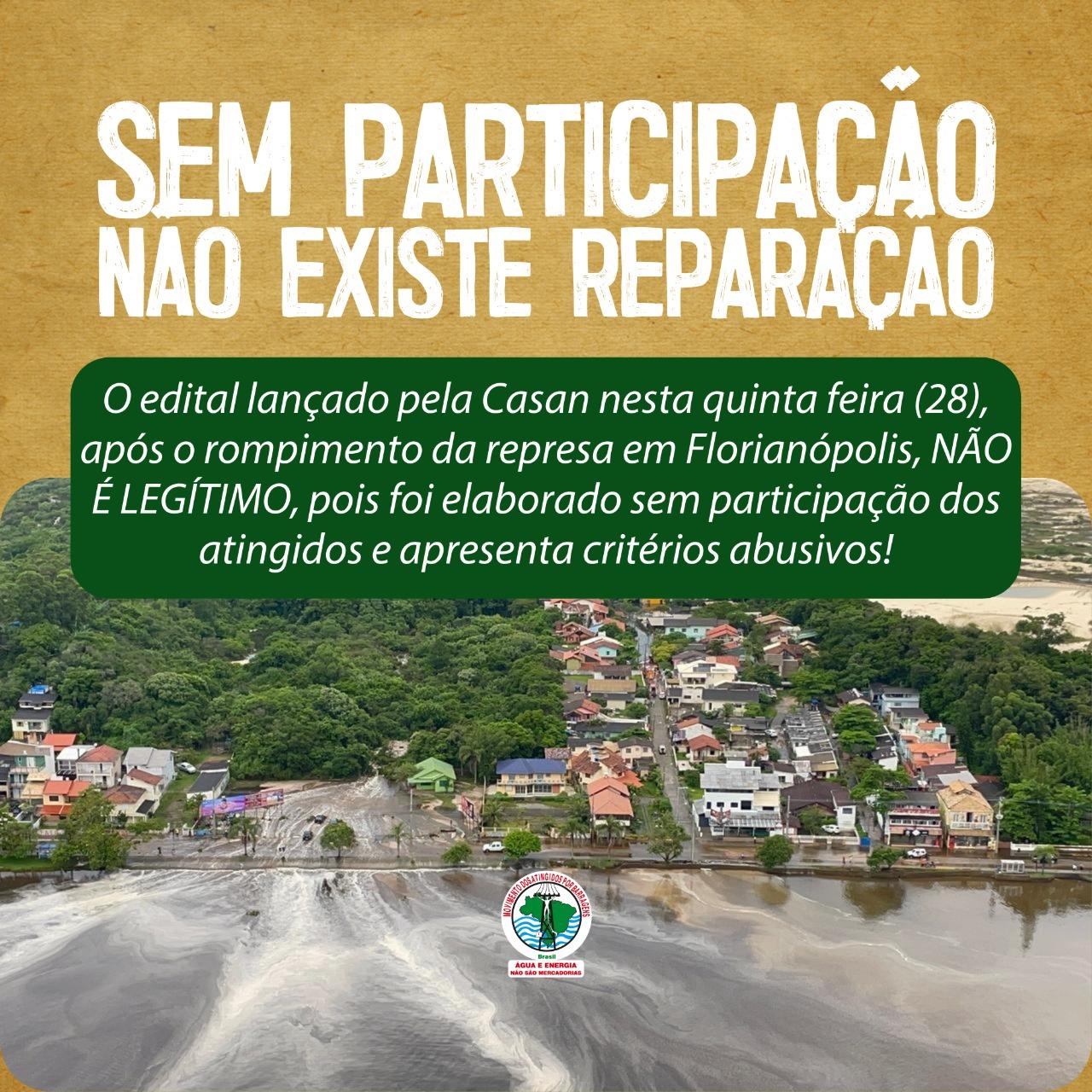 Atingidos por barragem da CASAN, em Florianópolis, afirmam que edital de indenização não é legítimo
