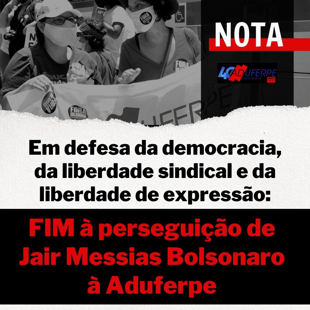 EM DEFESA DA DEMOCRACIA, DA LIBERDADE SINDICAL E DA LIBERDADE DE EXPRESSÃO: