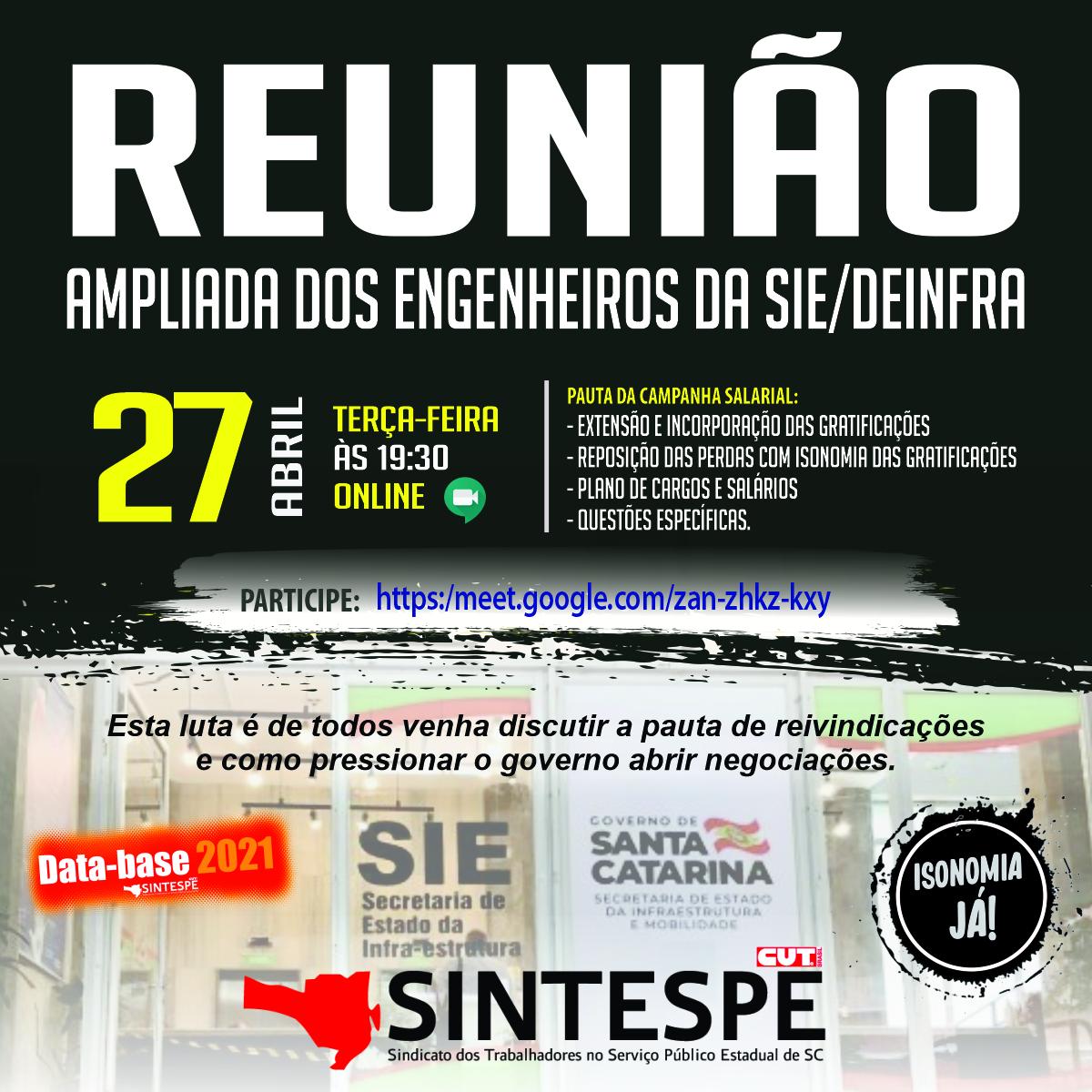 REUNIÃO AMPLIADA DOS ENGENHEIROS DA SIE/DEINFRA